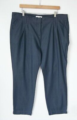 AU24 • Buy TRENERY By COUNTRY ROAD // Size 16 // Chambray Blue Cotton Tailored Pants