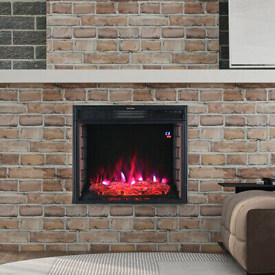 3D Brick Frame Inset Wall Electric Fireplace LED Digital Flame Insert Fire Stove • 139.14£