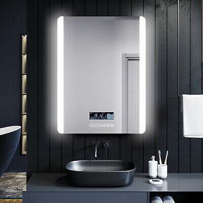 Bathroom LED Illuminated Mirror With Anti-fog Touch Bluetooth Shaver Socket Time • 153.99£