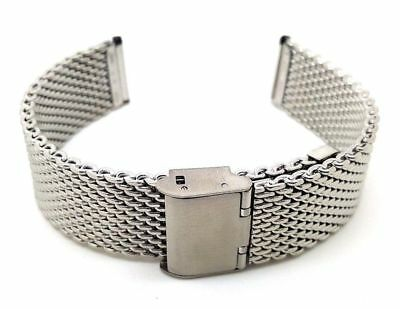 Stainless Steel Watch Strap Shark Mesh Chainmail Mens Bracelet Size 18/20/22mm • 12.99£