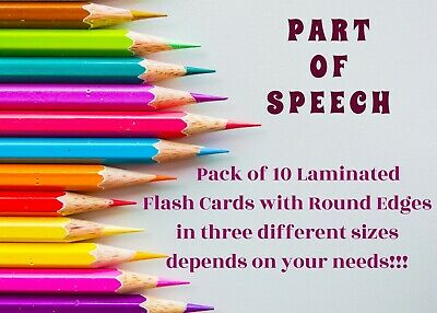 Pack Of 10 Laminated Flash Cards Part Of Speech Home Learning Classroom Grammar • 4.50£