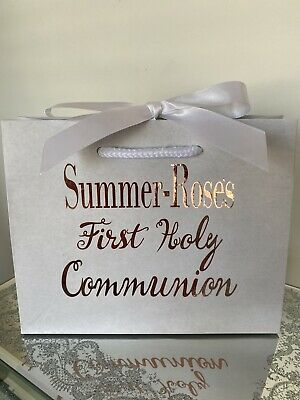 £3.25 • Buy First Holy Communion Gift Bag Personalised Keepsake Small Bag Box Any Colour
