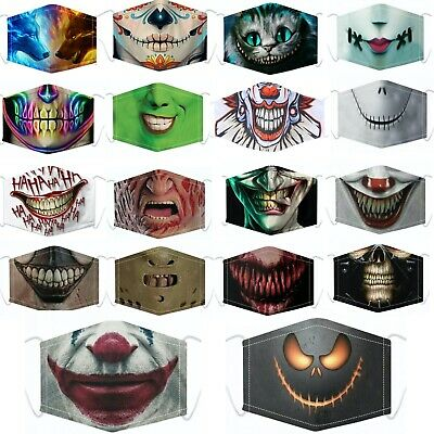 £3.99 • Buy Halloween Face Mask Covering Washable Breathable Fashion With Filter Pocket