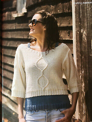 KNITTING PATTERN Ladies Cropped Cable 3/4 Sleeve Jumper + Sleeveless Vest Top • 3.30£