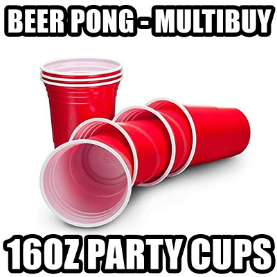Beer Pong Set Red 16oz Party Cups Multibuy Lockdown Games Ping Pong Party • 9.99£