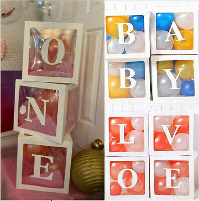 AU29.98 • Buy Letter ONE BABY LOVE Transparent Balloon Boxes Birthday Shower Party Decoration