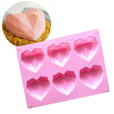 3D Silicone Heart Fondant Mould Cake Chocolate Baking Mold Candy Jelly Soap Tray • 4.29£