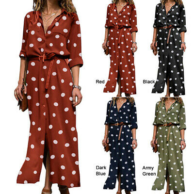 Long Midi Maxi Shirt Dress Polka Dot Print Red Size S With Belted Fashion Casual • 12.74£