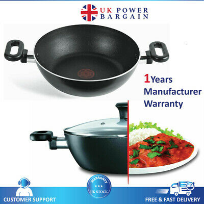£22.99 • Buy Tefal Non-Stick Kadai  Black 26cm With Lid, Curry Pan Madras Collection A7495244