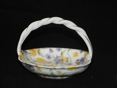 Regal Bone China Floral Basket With Handle Gold Etched • 6.79£