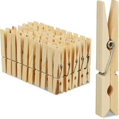 Wooden Clothes Pegs Pine Garden Washing Line Airer Dry Rust Free Wood Clips • 2.59£