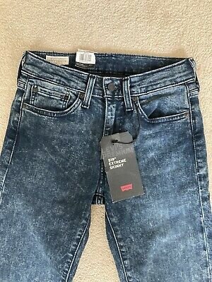 Levi's 519 Extreme Skinny Men's Faded Wash Dark Blue Jeans W28 L32 BNWT • 45£