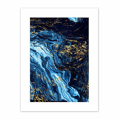 £12.99 • Buy Abstract Dark Blue Gold Pour Print Canvas Premium Wall Decor Poster