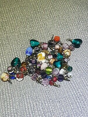 £2.70 • Buy 25 Mixed Glass Beads Silver Charms Pendants Random Mix Gold & Silver Charms