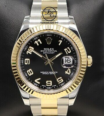 $ CDN16363.79 • Buy Rolex Datejust II 116333 Two Tone 18K Yellow Gold SS Black Dial Mint BOX PAPERS