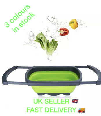 Colander Collapsible Over The Sink Vegetables Fruit, Sieve, Strainer,Pasta, Bean • 9.49£