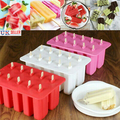 10 Grid Frozen Ice Cream Mould Lolly Juice Maker Pop Mold Icebox Summer DIY UK • 7.19£