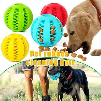 Dog Treat Ball Interactive Chew Resist Toy Teeth Cleaning Food Dispenser Feeder# • 4.89£