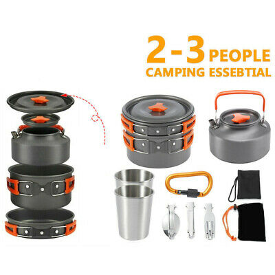 £23.74 • Buy 1 Set Portable Outdoor Camping Cookware Kit With Hiking Gear Cooking Equipment