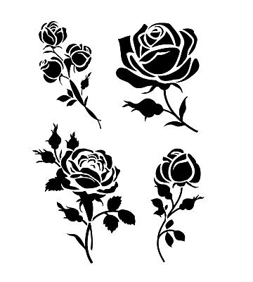 £3.50 • Buy SET OF ROSES A5 A4 A3 Reusable Stencil Shabby Chic Floral Valentine's / Rose5
