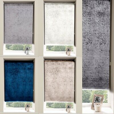 £17.99 • Buy Crushed Velvet Blackout Roller Blinds Easy Fit Child Safety Cut To Size Fixing