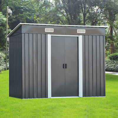 New 8 X 4FT Garden Shed Metal Pent Roof Outdoor Storage With Free Foundation • 249.99£