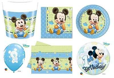 Baby Mickey Mouse 1st Birthday Party Tableware Decorations Boys Baby Shower  • 3.39£