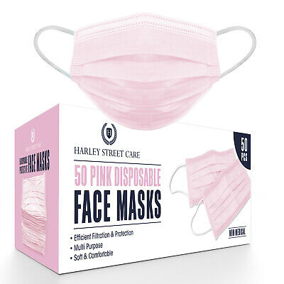 50/100/500 Pink Face Mask 3-Ply Breathable Disposable Non Surgical /Medical UK • 6.99£