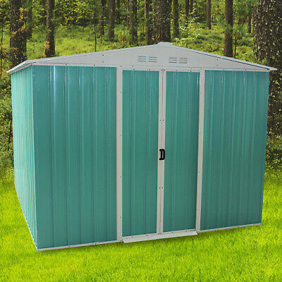 8x6ft Garden Metal Shed Apex Roof Outdoor Storage House With Free Foundation • 269.99£