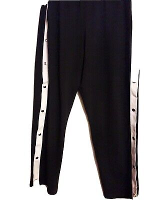 Ladies Black  Fashion Trousers With 7 Metal Press Studs On Each Side Of Leg S22  • 7.50£