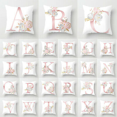 Cushion Cover A-Z Initials Single Letter Pillow Case Alphabet Bedroom Home Decor • 5.29£