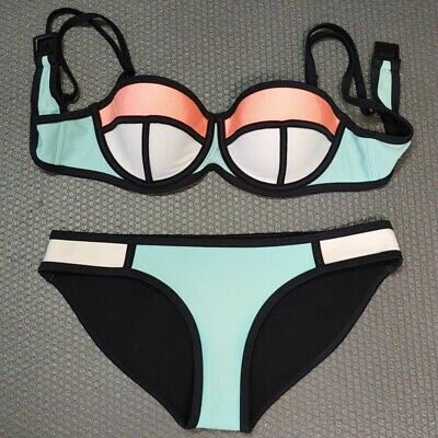 $ CDN31.88 • Buy TRIANGL Poppy Summer Sorbet Colorblock Blue Peach White Bikini~Top S, Bottom XS