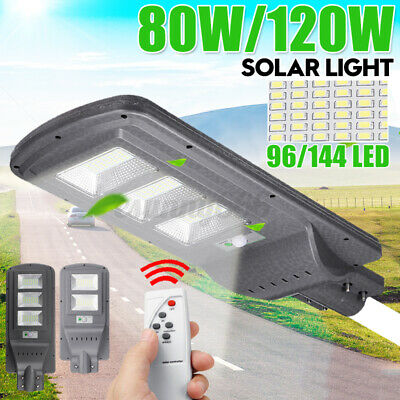 IP65 80W 120W Solar Street Light Wall Lamp Light Motion Remote Home  • 33.89£