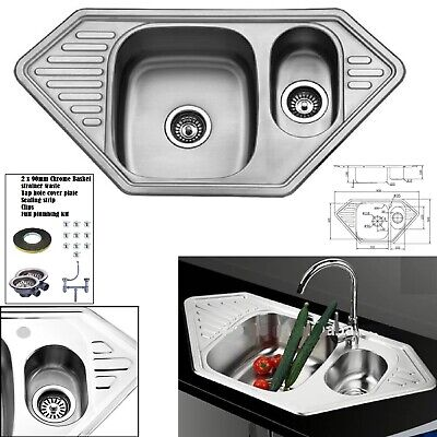 £52.95 • Buy DOUBLE 1.5 BOWL STAINLESS STEEL KITCHEN SINK & DRAINER PLUMBING & WASTE KIT New