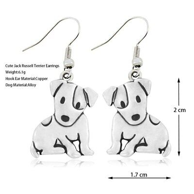 £3.25 • Buy Stunning Silver Tone Pair Of Jack Russell  Dog Earrings .With Organza Bag ...