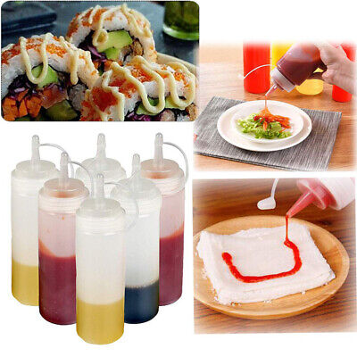 Clear Plastic Squeeze Mustard Sauce Ketchup Bottles Lids Oil Dressing Barbecue • 3.59£