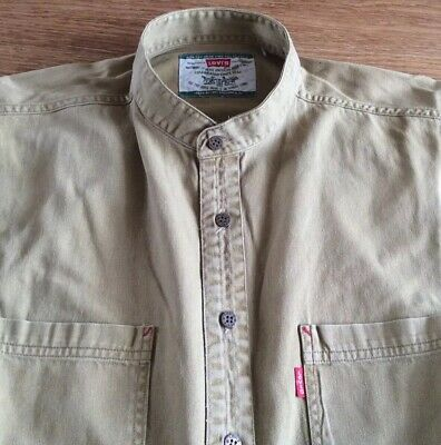 Mens Vintage S/s Denim Grandad Shirt By Levis        17.5.  Collar.  L • 4.99£