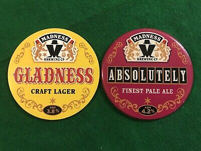 Madness Brewing Co Gladness & Absolutely Pub Pump Keg Clips Suggs Ska Home Bar • 30£