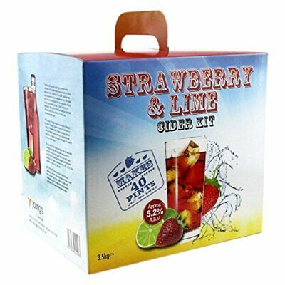 Youngs Strawberry And Lime Premium 3.5Kg Cider Kit (40 Pints) Home Brew • 36.99£