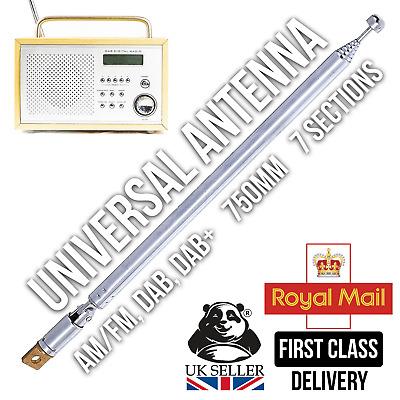 7 Section 166-750mm Telescopic Aerial Antenna For TV Radio DAB AM/FM Replacement • 4.99£