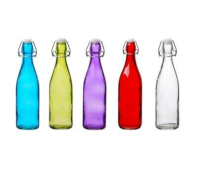 Clip Top Bottles Glass 500ml/1Litre Airtight Preserve Water Swing Top Coloured • 8.25£