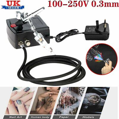Dual-Action Spray Gun Airbrush With Compressor 0.3mm Airbrush Kit For Model Cake • 42.89£
