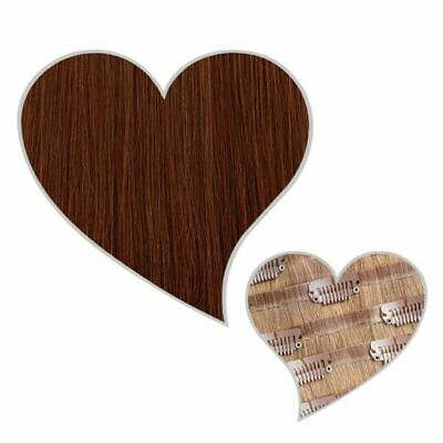 $159.64 • Buy Clip IN Extensions Seamless 150-g-Set 40 CM Mahogany #33 Real Hair Extension