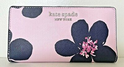 $ CDN80.69 • Buy New Kate Spade Cameron Grand Flora Large Slim Bifold Wallet Serendipity Pink