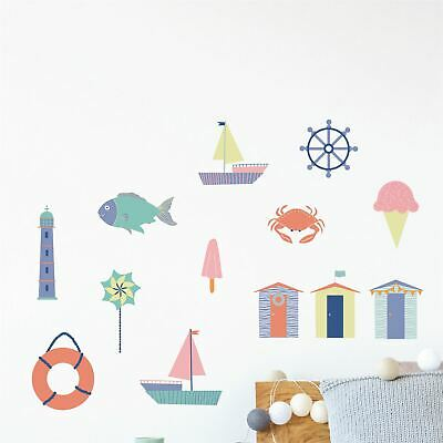 13 Nautical Seaside Fun Wall Stickers Decals Ocean Beach Bedroom Sailor Boat • 26.83£