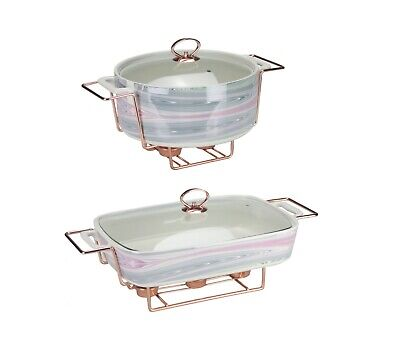 £69.99 • Buy Porcelain Casserole With Food Warmer Chrome Tealight Candles Stand Buffet Tureen