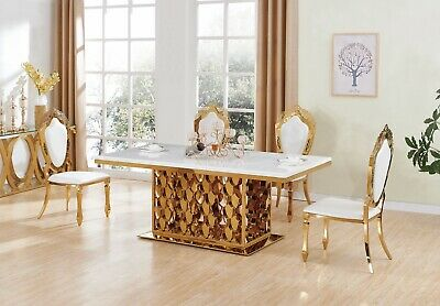 White Marble Dining Table Set And 6 Air Leather Chairs Kitchen Furniture • 1,699.99£