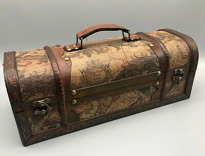 Rustic Wooden Colonial Style Wine Box World Map Treasure Chest Storage Box Large • 13.99£
