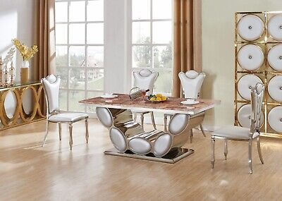 Silver Real Marble Dining Table Set And 6 Air Leather Chairs Kitchen Furniture • 1,499.99£
