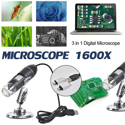 3in1 Digital USB Type-C Microscope Magnifier Camera 8LED Stand For Android 1600X • 11.98£